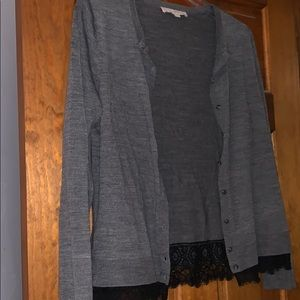 Loft lace trimmed cardigan large button down